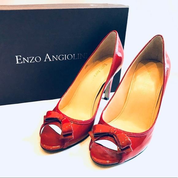 e5f72bb19bc Enzo Angiolini Red Peep Toe Heels